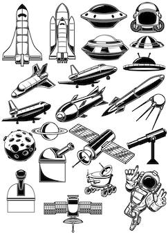 Satz von raumgestaltungselementen. space shuttle, ufo, rakete, raumfahrer, planet. für logo, label, schild, banner.