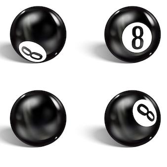 Satz von realistischen 8 ball. isoliert auf weiss