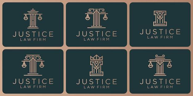 Satz von rechtssymbolen, justiz, anwaltskanzlei, anwaltskanzlei, anwaltsdienste Premium Vektoren