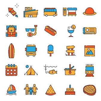 Satz von reisen und urlaub symbol