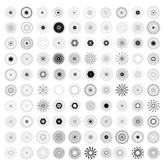Satz von retro sun burst shapes.