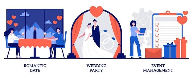 Satz von romantischem date, hochzeitsfeierplanung, eventmanagement, liebesgeschichte