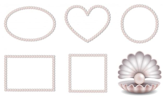 Satz von rosa perlenrahmen und muschel mit rosa perle