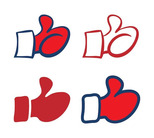 Satz von roten fausthandschuhen daumen hoch symbole, vektor-illustration