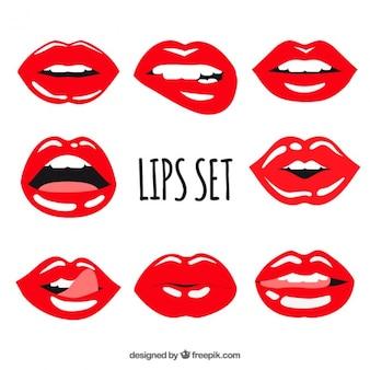 Satz von roten lippen mit glitzer