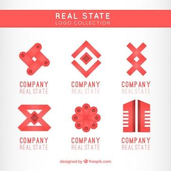 Satz von roten und flach realen zustand logos