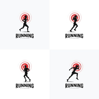 Satz von run-logo-design-vektor-logo-design