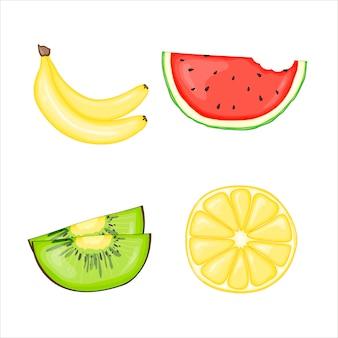 Satz von saftigen früchten
