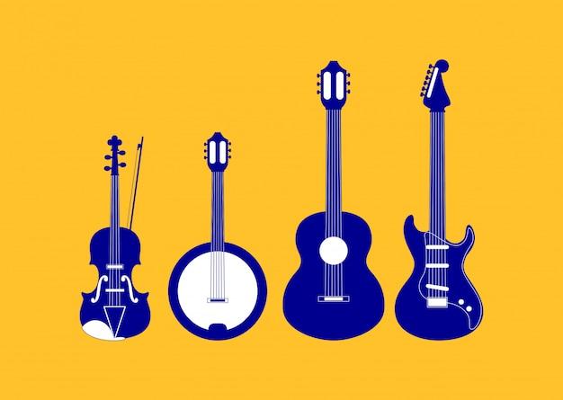 Satz von saitenmusikinstrumenten