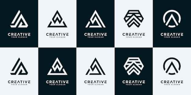 Satz von sammlungsinitialen und logo-design-vorlagen.