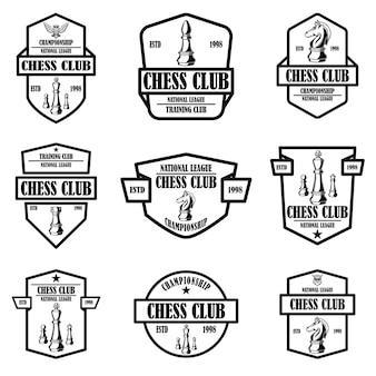 Satz von schachclubemblemen. gestaltungselement für logo, etikett, schild, poster, karte.