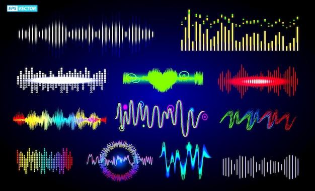 Satz von schallwellenfrequenz oder audio-sprach-equalizer oder buntes schallwellen-musikelement-konzept