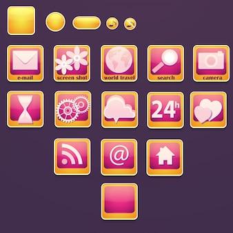 Satz von schaltflächen mit sozialen symbolen.