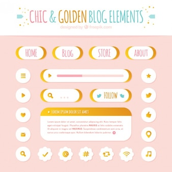 Satz von schaltflächen und blog-icons elemente mit goldenen details