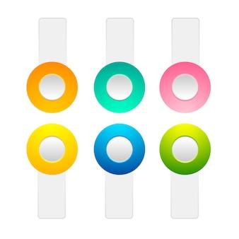 Satz von schaltflächen zum ein- und ausschalten der positionssammlung mit orangefarbenen, gelben, grünen, rosafarbenen, blauen kreiselementen und weißen streifen