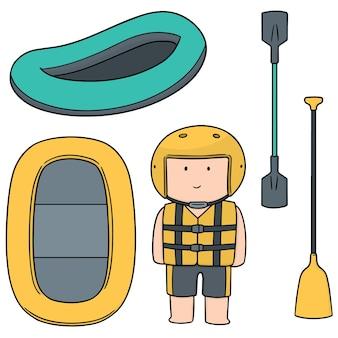 Satz von schlauchboot rafting