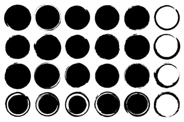 Satz von schmutzkreisformen im schwarzen. vektor-illustration