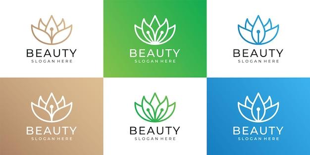 Satz von schönheit bunte linie blumenlogo-design