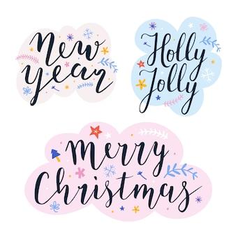 Satz von schriftzügen für weihnachten
