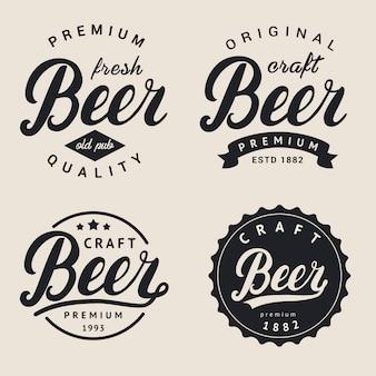 Satz von schriftzug bier logo.