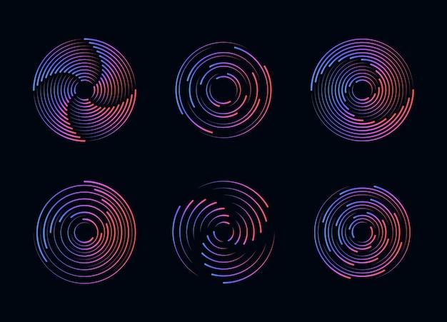 Satz von schwarzen dicken halbton gepunkteten geschwindigkeitslinien abstrakte runde halbtonkreisrahmen, die gepunktete kreisformen drehen