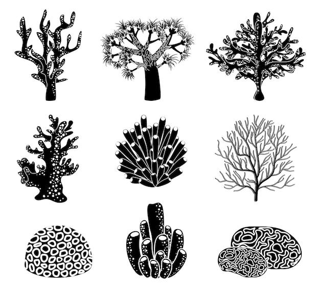 Satz von schwarzen korallensilhouetten.