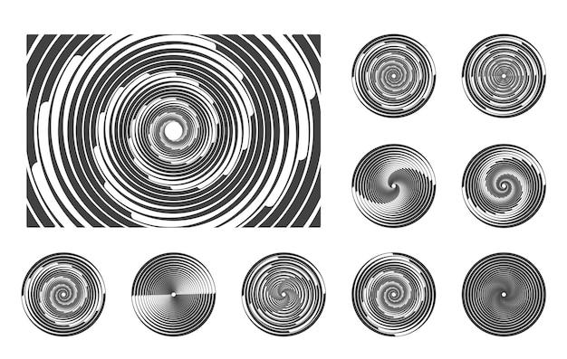 Satz von schwarzen radialen geschwindigkeitslinien aus weißen gestrichelten kurven, die halbton-dünne, dicke linien wirbeln