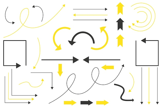 Satz von schwarzen und gelben pfeilen pfeilsymbole vektorgrafiken