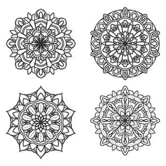 Satz von schwarzen und weißen mandala