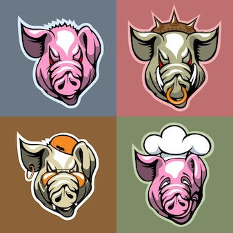 Satz von schweineköpfen im unterschiedlichen gesichtsausdruck. cartoon-stil