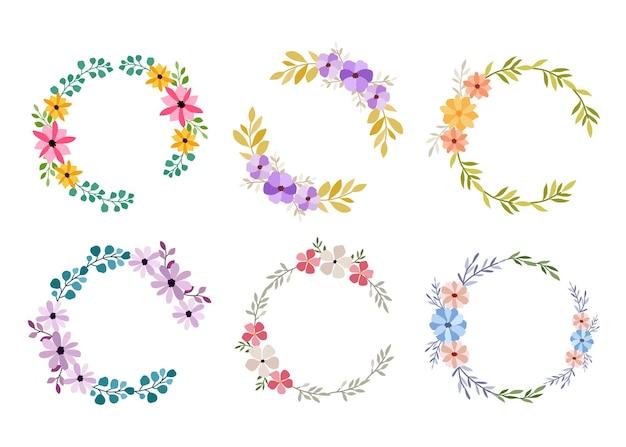Satz von sechs aquarellblumenrahmen auf weiß