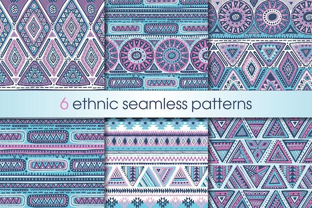 Satz von sechs bunten nahtlosen mustern mit handgezeichneten ethnischen elementen. geometrisches design