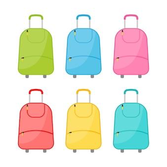 Satz von sechs bunten reisetaschen mit rädern mit gepäck auf weißem hintergrund. reisekoffer im flachen stil. vektor-illustration