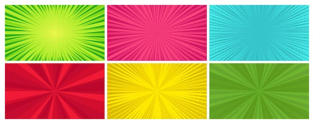 Satz von sechs comic-seiten-hintergründen im pop-art-stil mit leerem raum. vorlage mit strahlen, punkten und halbtoneffekt-textur. vektor-illustration