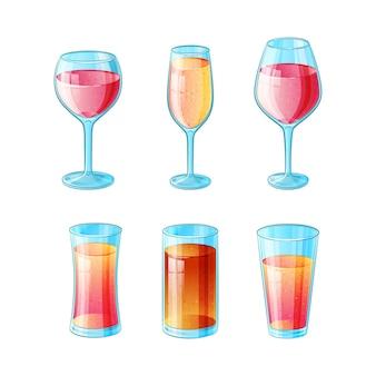 Satz von sechs hand gezeichneten alkoholarmen cocktails in der farbe auf weißem hintergrund.