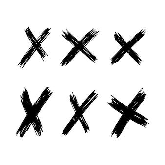 Satz von sechs handgezeichneten kreuzsymbolen. schwarzes skizzenkreuzsymbol auf weißem hintergrund. vektor-illustration