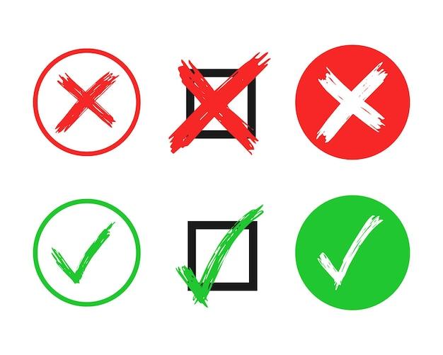 Satz von sechs handgezeichneten scheck- und kreuzzeichenelementen isoliert auf weißem hintergrund. grunge doodle grünes häkchen ok und rotes x in verschiedenen symbolen. vektor-illustration
