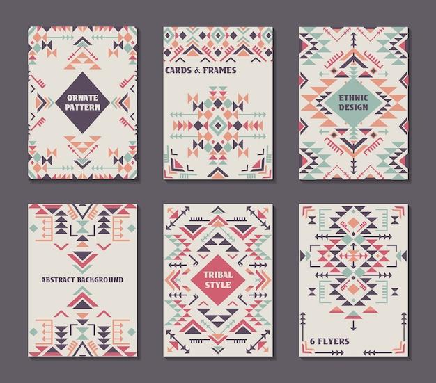 Satz von sechs karten. ethnisch verziertes muster mit geometrischen formen. flyer mit abstrakten stammesgestaltungselementen