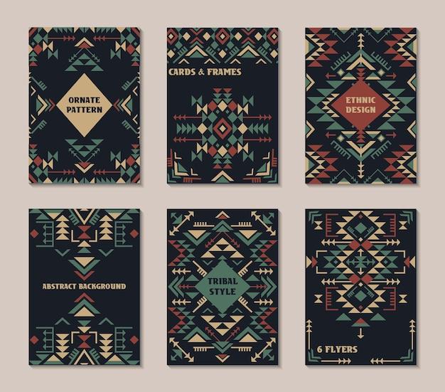 Satz von sechs karten. ethnisch verziertes muster mit geometrischen formen