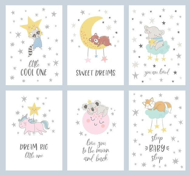 Satz von sechs nachtkarten mit niedlichen zeichentrickfiguren und -phrasen.