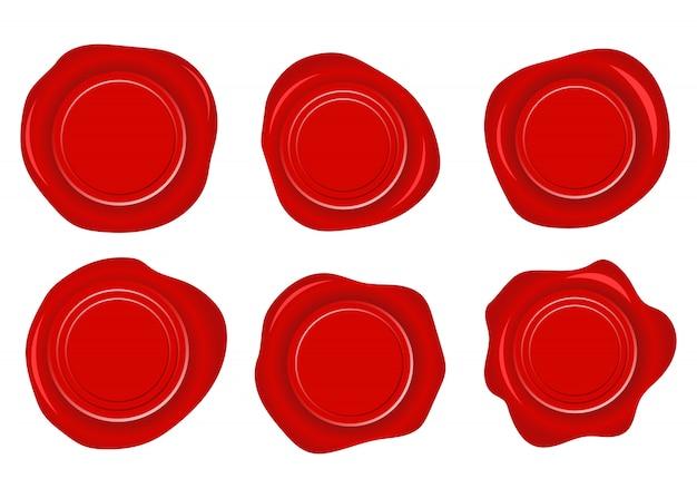 Satz von sechs roten glänzenden wachssiegel-entwurfsillustrationen lokalisiert auf weißem hintergrund