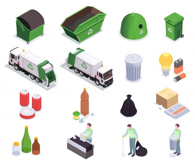 Satz von sechzehn isometrischen symbolen des müllabfallrecyclings mit menschlichen zeichen von aasfressern und mülltonnenvektorillustration