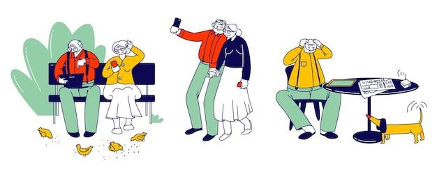 Satz von senioren, die intelligente geräte verwenden. ältere männliche und weibliche charaktere lernen, wie man gadgets verwendet, selfies auf dem smartphone macht, auf laptop im freien chattet. cartoon-flache vektor-illustration, strichzeichnungen