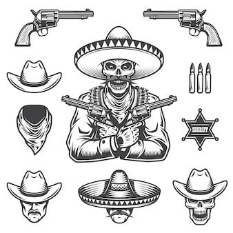 Satz von sheriff- und banditenelementen und -köpfen. monochromer stil