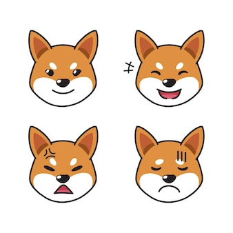 Satz von shiba inu hundegesichtern, die verschiedene emotionen zeigen