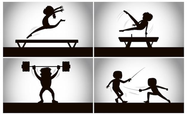 Satz von silhouette sport