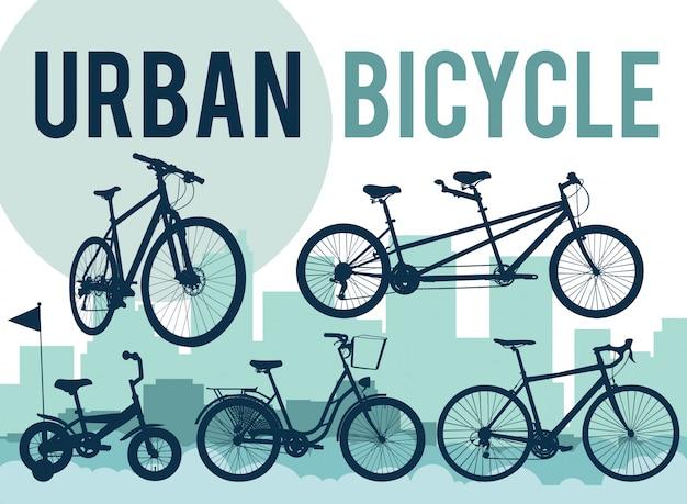 Satz von silhouetten von fahrrädern auf die skyline der stadt.