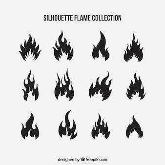 Satz von silhouetten von flammen