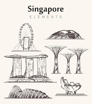 Satz von singapur-gebäuden isoliert auf weiß