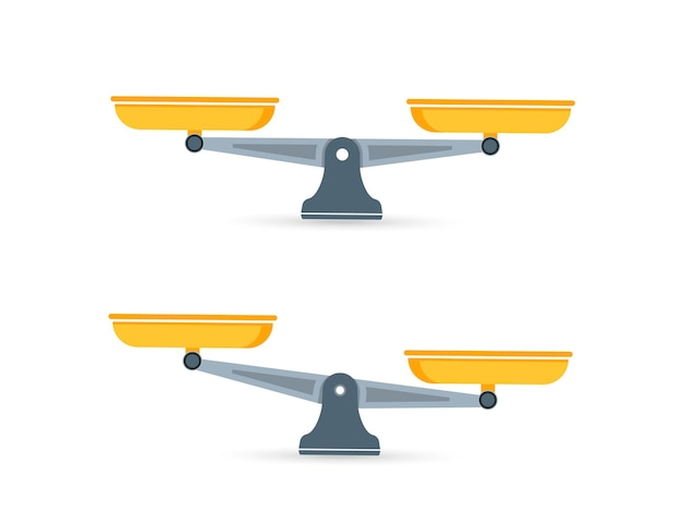 Satz von skalen. schalen mit waage im gleichgewicht, ein ungleichgewicht der waage. waage, vektorillustration